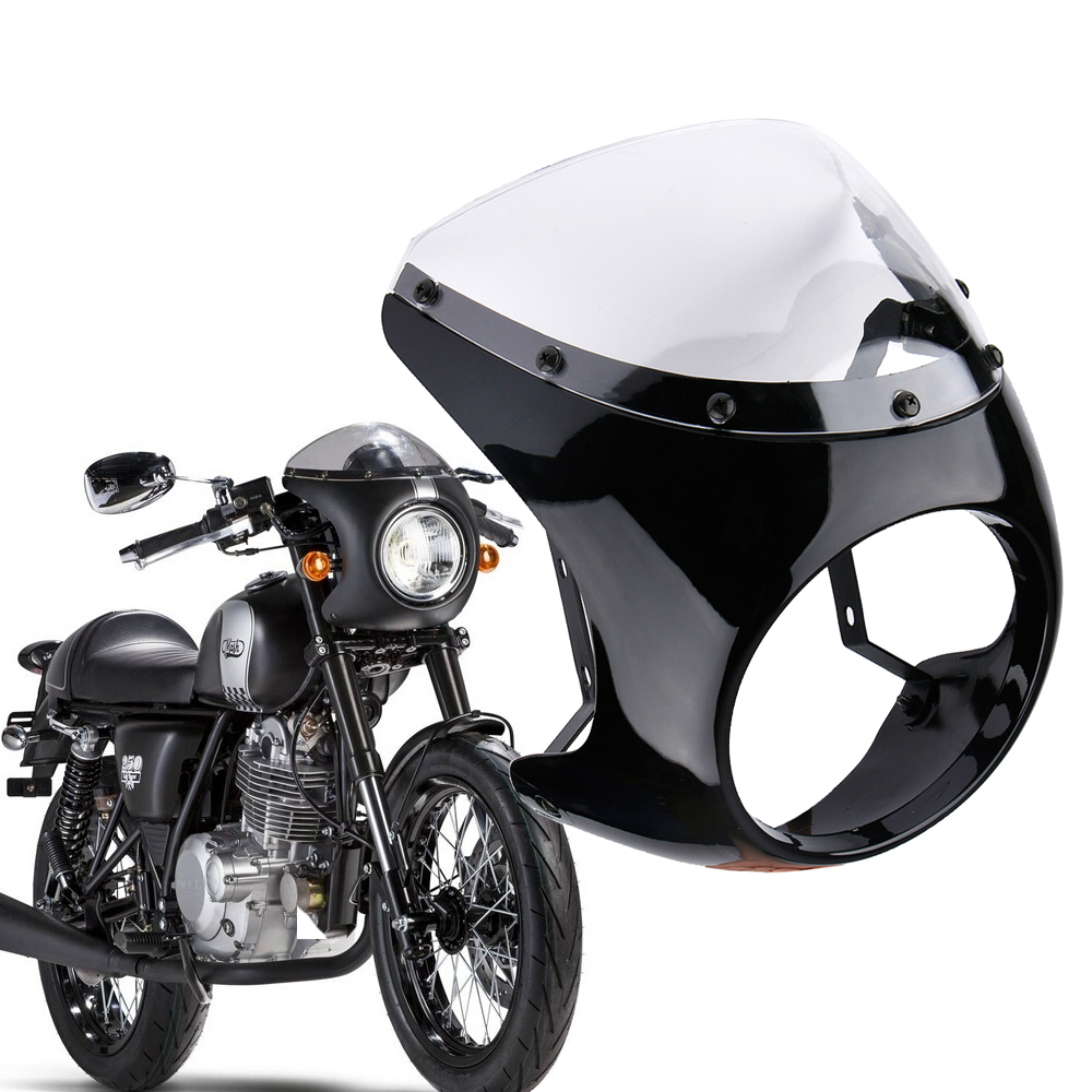 Cafe Racer Motorcycle Headlight : Universal motorcycle quot headlight cafe racer handlebar