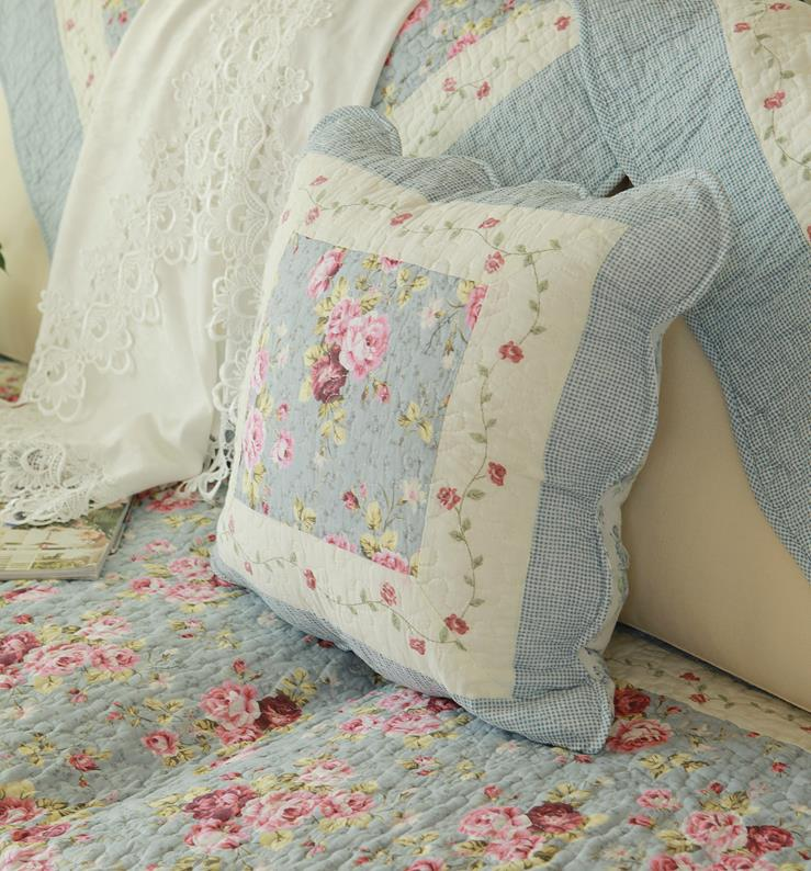 Shabby Chic Floral Throw Pillows : Shabby Chic French Country Cottage Floral Blue Throw Pillow Cushion Cover D eBay