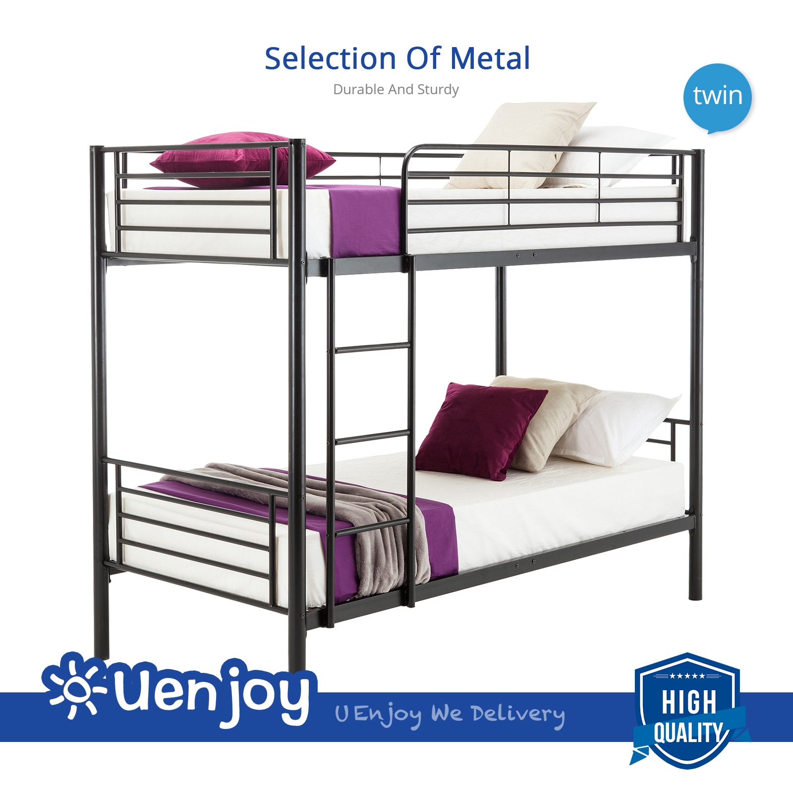 kids metal twin over twin bunk beds frame ladder for children adult bedroom dorm ebay. Black Bedroom Furniture Sets. Home Design Ideas