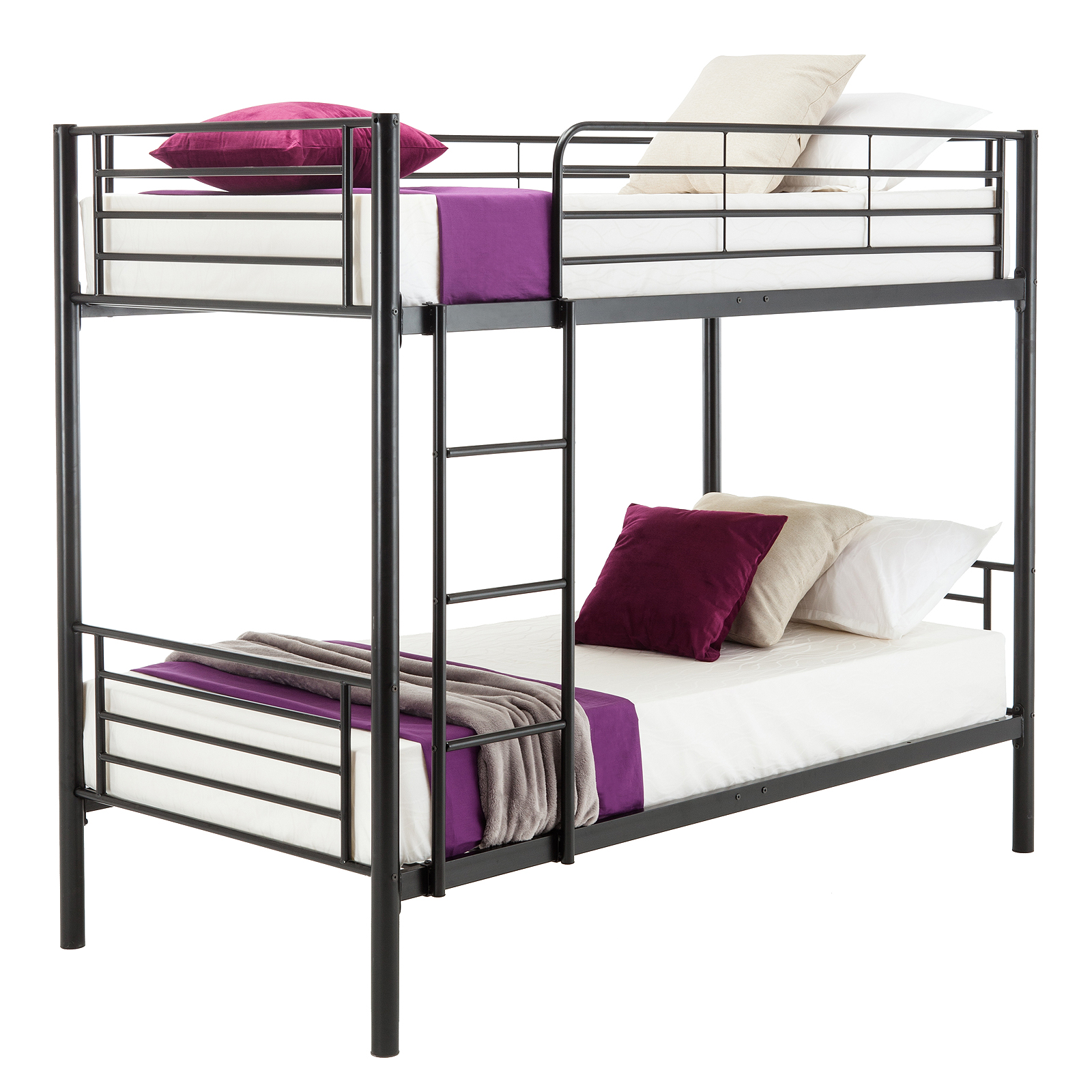 Metal bunk beds frame twin over twin ladder bedroom dorm Adult loft bed