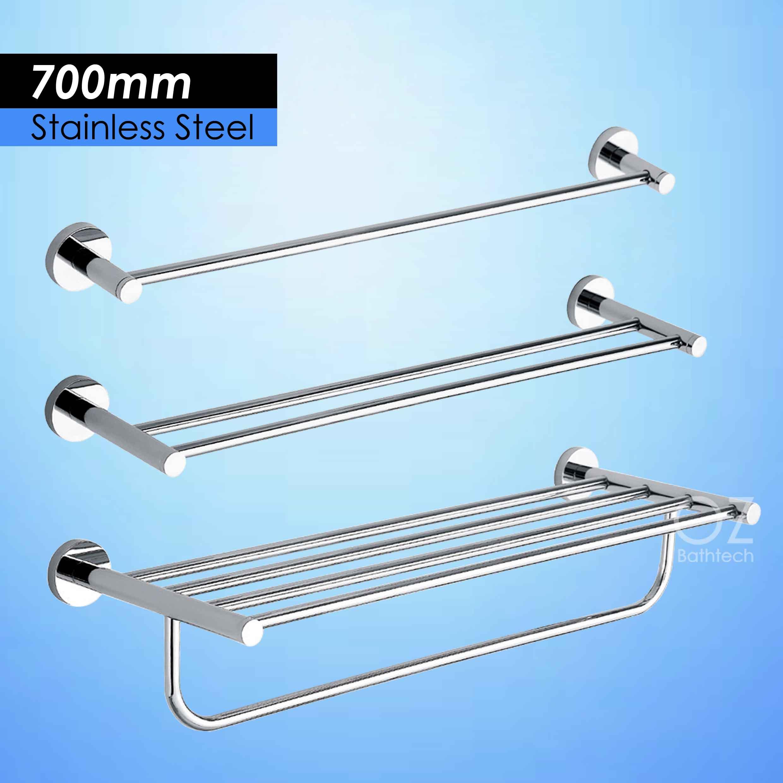 700MM Hand Towel Rack Rails Bar Bathroom Shelf Holder Stainless ...