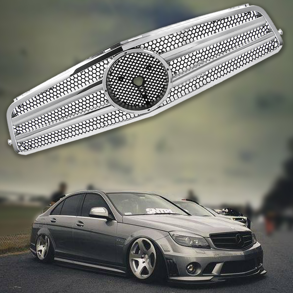 Chrome front mesh grille grill for mercedes benz c class for Mercedes benz c300 grill