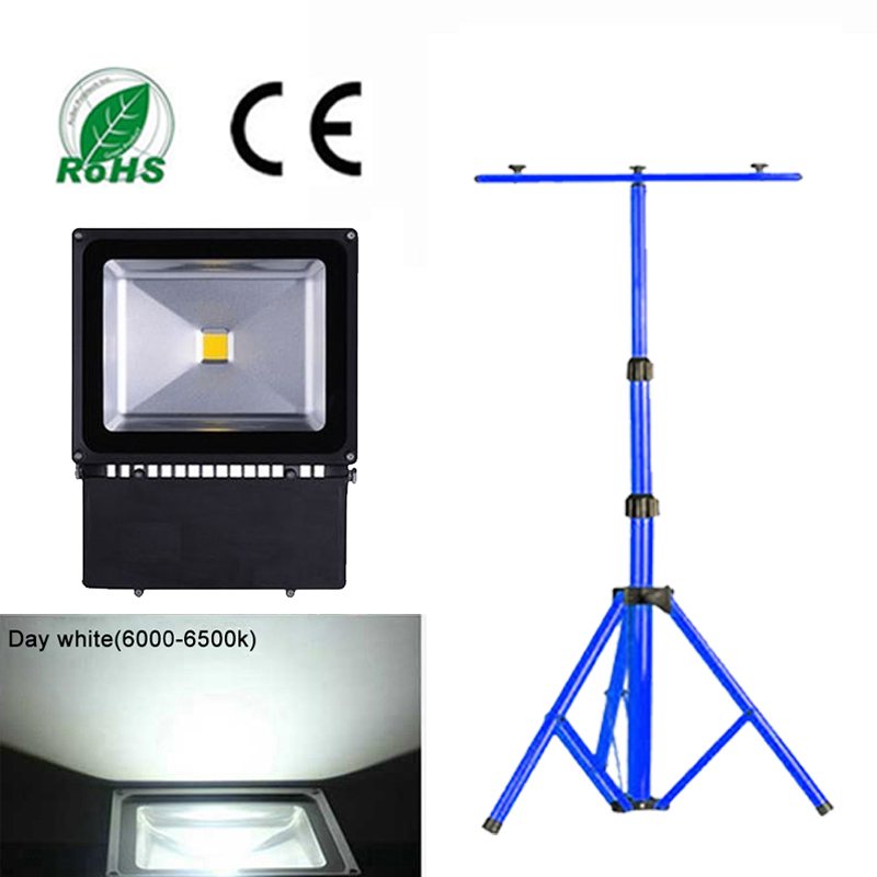 100w led fluter kaltwei floodlight ip65 mit teleskop stativ baustrahler stativ ebay. Black Bedroom Furniture Sets. Home Design Ideas