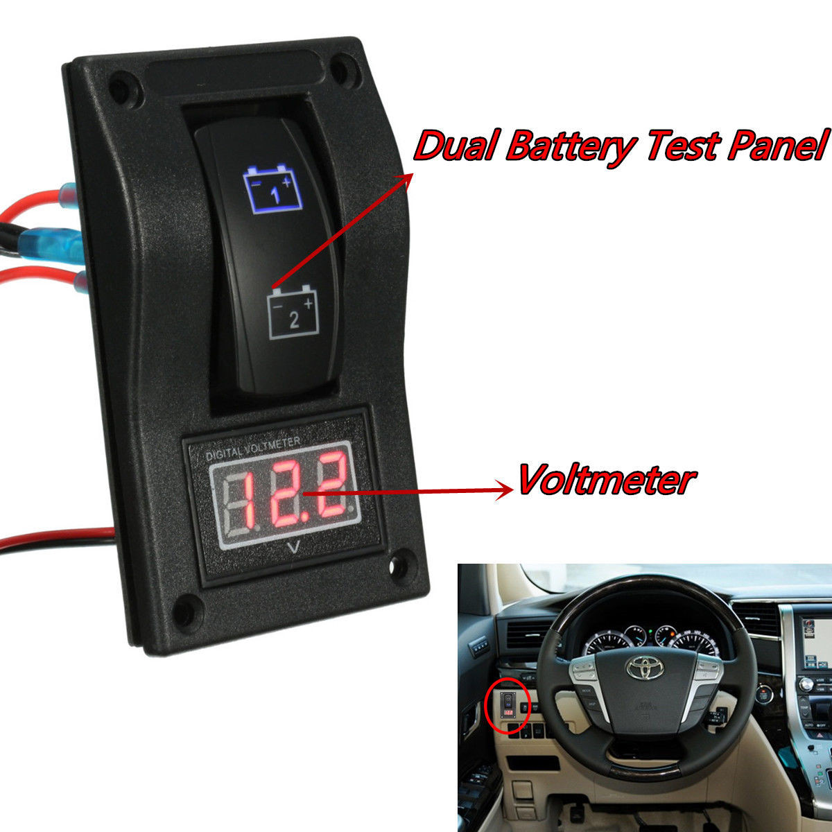 dc 12v marine boat car led voltmeter dual battery test panel rocker panel switch. Black Bedroom Furniture Sets. Home Design Ideas