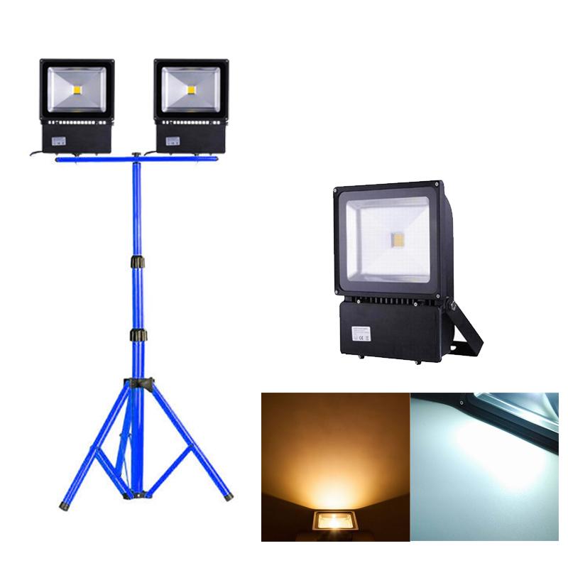 100w schwarz led fluter floodlight ip65 mit teleskop stativ baustrahler lampe ebay. Black Bedroom Furniture Sets. Home Design Ideas