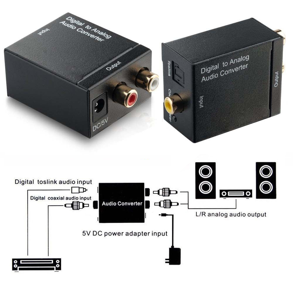 easy digital spdif optical toslink coax to analog rca audio converter 1m cable ebay. Black Bedroom Furniture Sets. Home Design Ideas