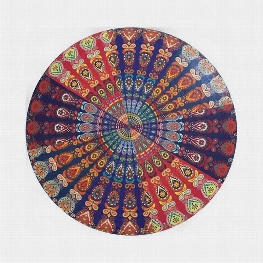 Haimi-hk Indian Mandala Round Beach Towel Floral Rug