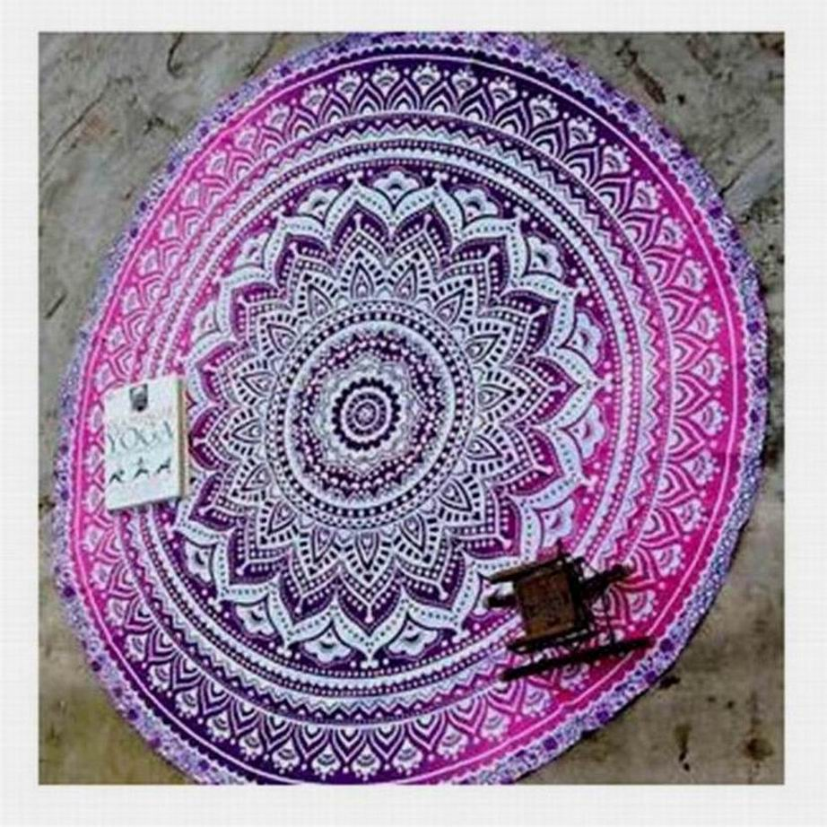 Gallant Indian Mandala Round Beach Towel Floral Rug