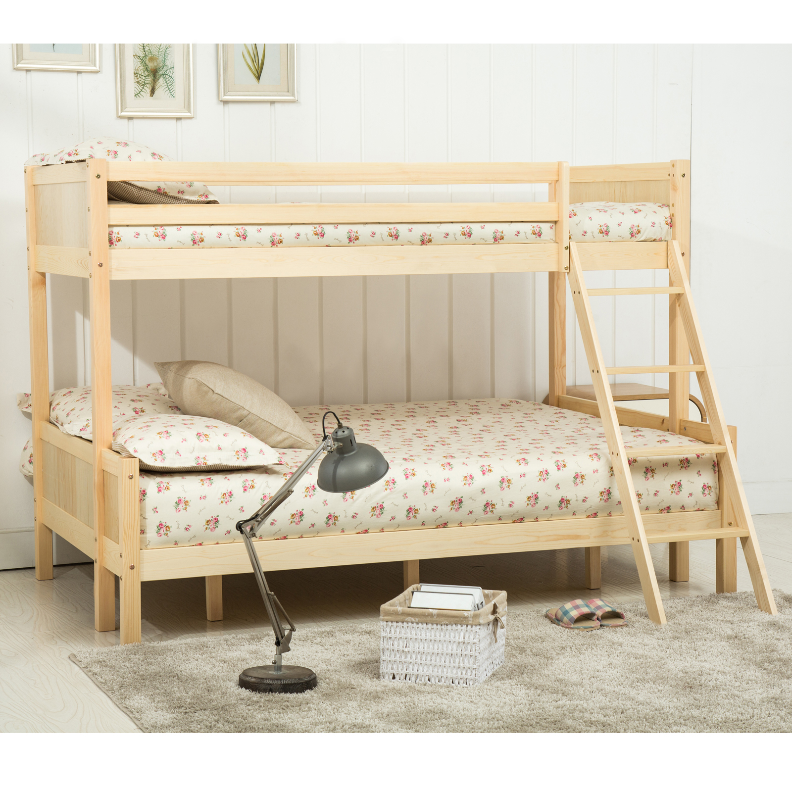 Triple Pine Wood Bunk Bed In White Natural For Bedroom Wooden Beds