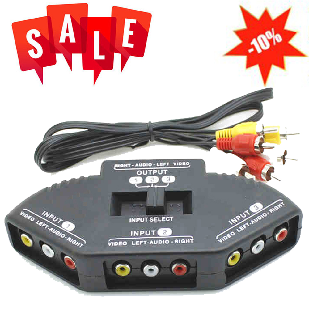 3 Way Audio Video Av Rca Black Switch Selector Box Splitter With Channel New Cable