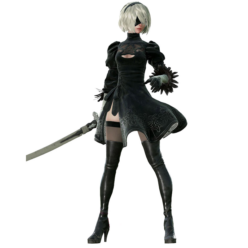 New Nier: Automata 2B Boots Cosplay Shoes Nier Black Over the Knee Boots  Costume