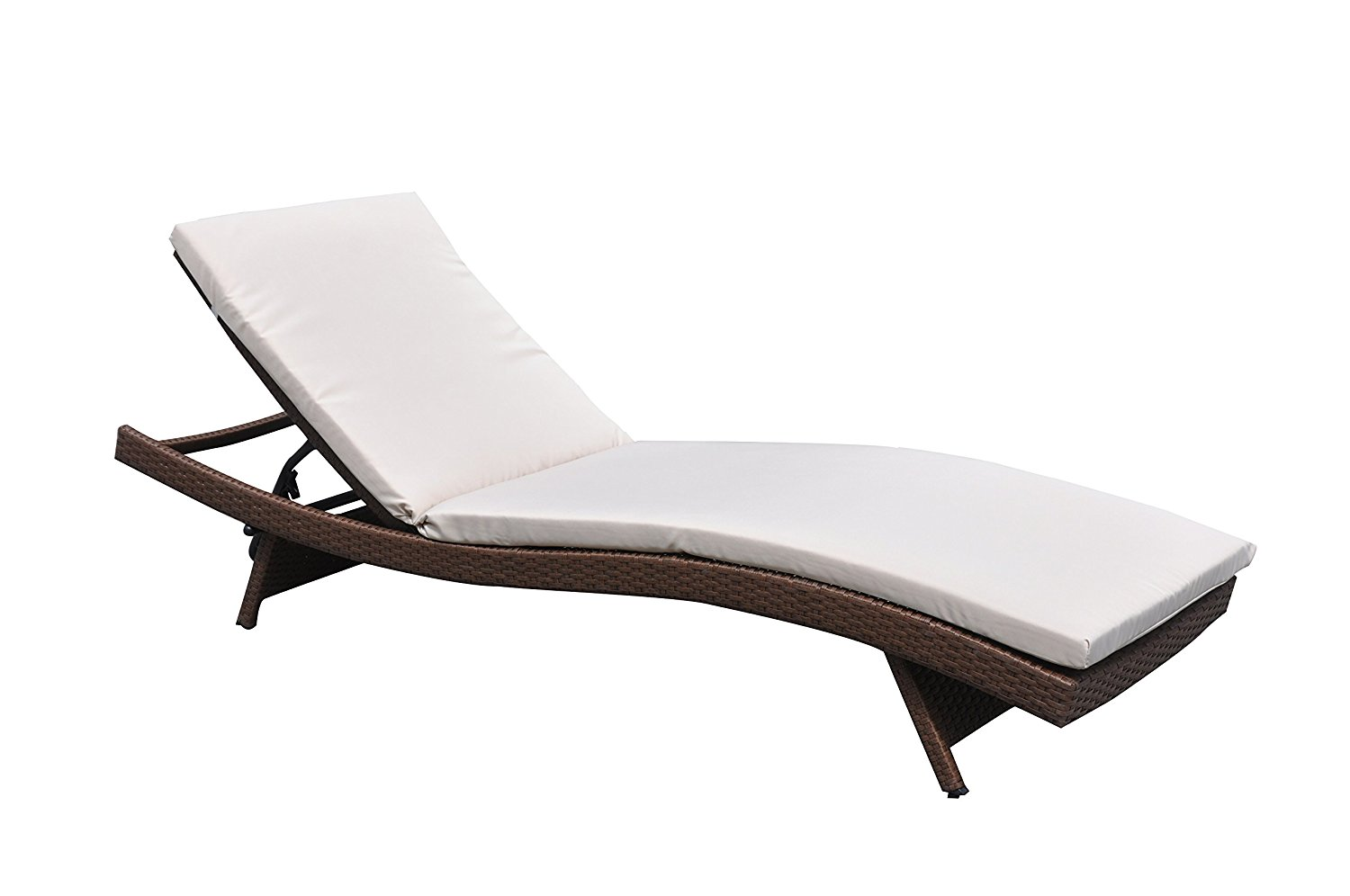 Outdoor Paito Recliner PE Wicker Adjustable Pool Chaise Lounge Chair Clearanc