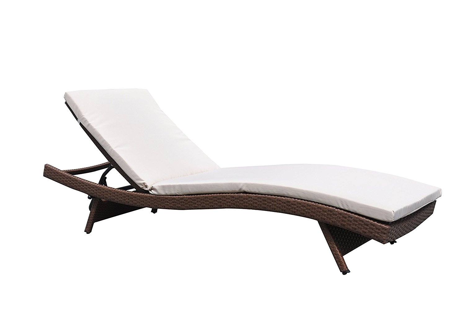 Outdoor Paito Recliner PE Wicker Adjustable Pool Chaise Lounge Chair Clearance