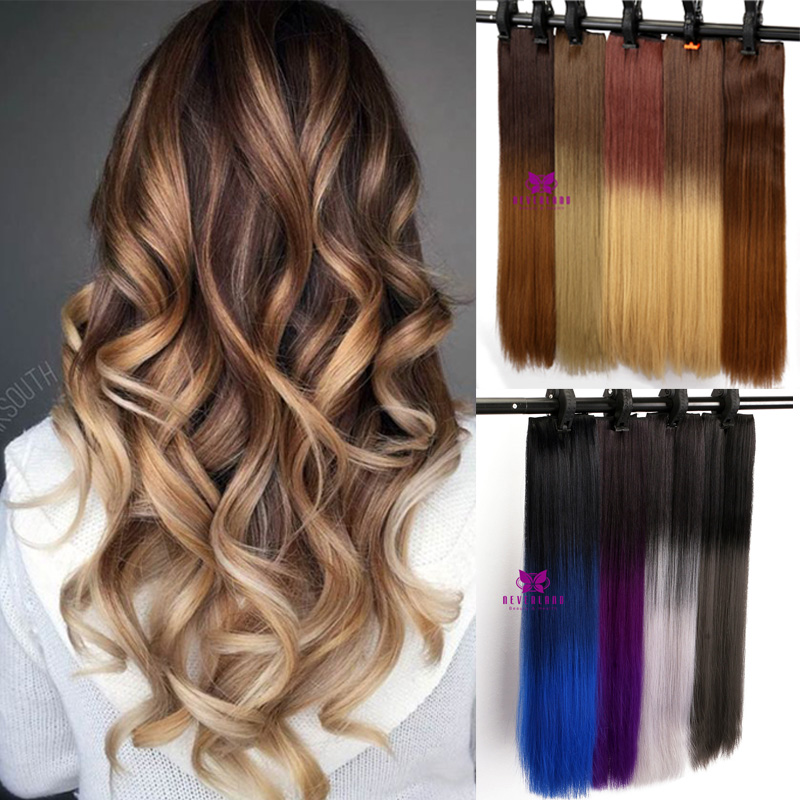 Hair Extensions Half Full Head Clip in Dip Dye Ombre Real Thick ...