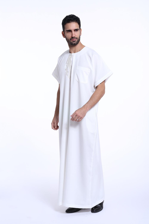 3529f9e91dc5 Men Dishdasha Thobe Muslim Islamic Short Sleeve Clothes Arab Saudi ...