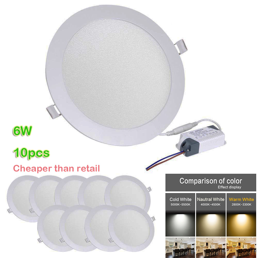 Recessed Garage Lighting Fixtures: 10x Round 6W LED Panel Recessed Ceiling Bright Lights For