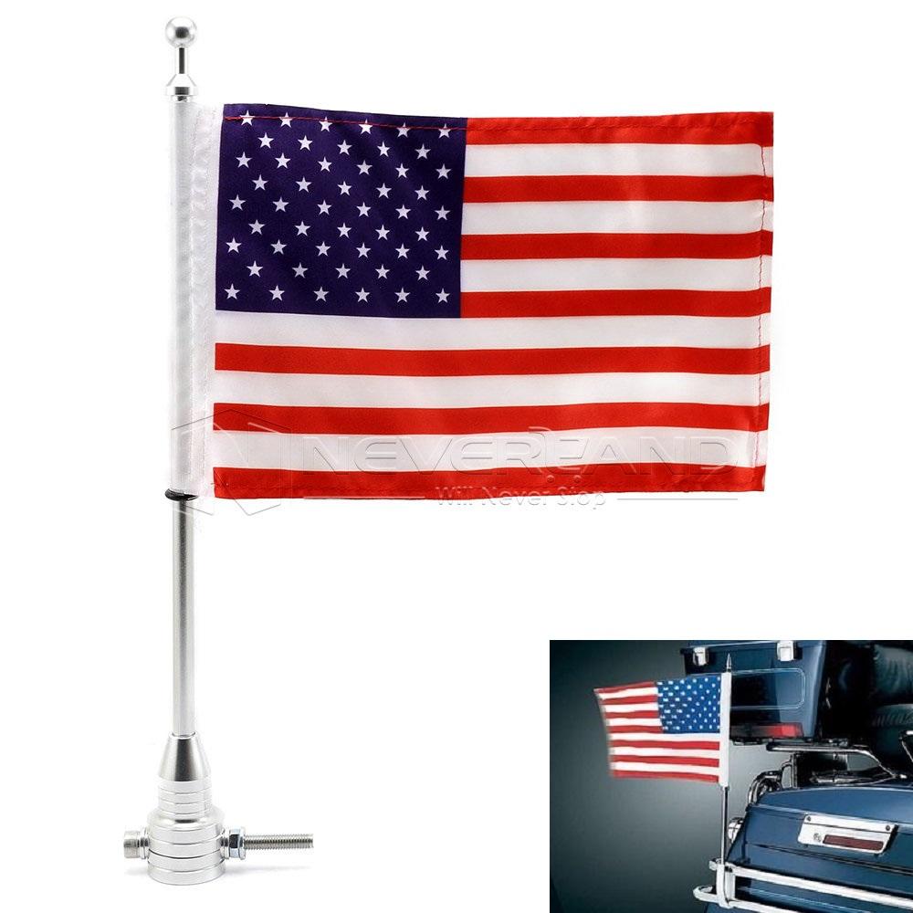 Universal Motorcycle Bike American Usa Flag Pole Luggage Rack Mount For Harley 6453563234230 Ebay