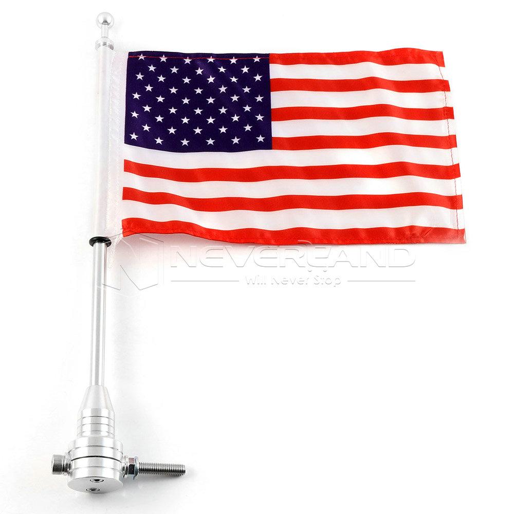 Universal Motorcycle Bike American Usa Flag Pole Luggage