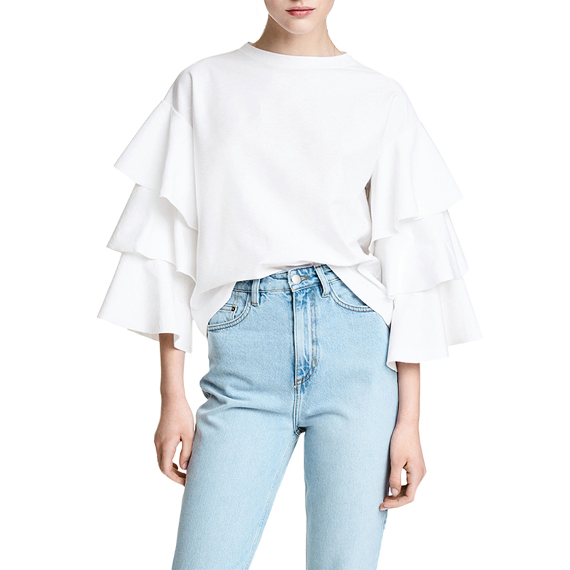 Women's College Casual T-shirt Sweet Layer Bell Sleeve Shirt White Blouse Top
