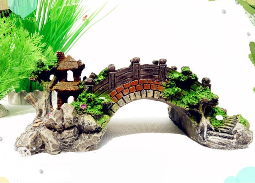 Small aquarium resin bridge landscape fish tank ornament for Aquarium decoration uk