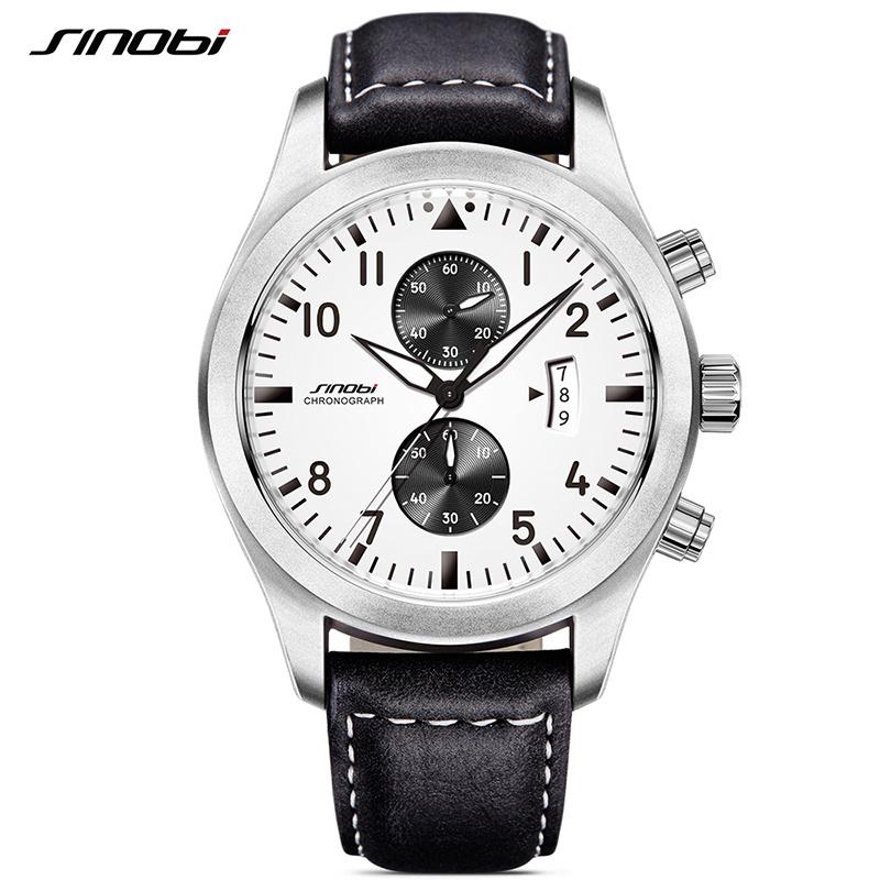 Men's Leather Watch Chronograph Sports Waterproof ...