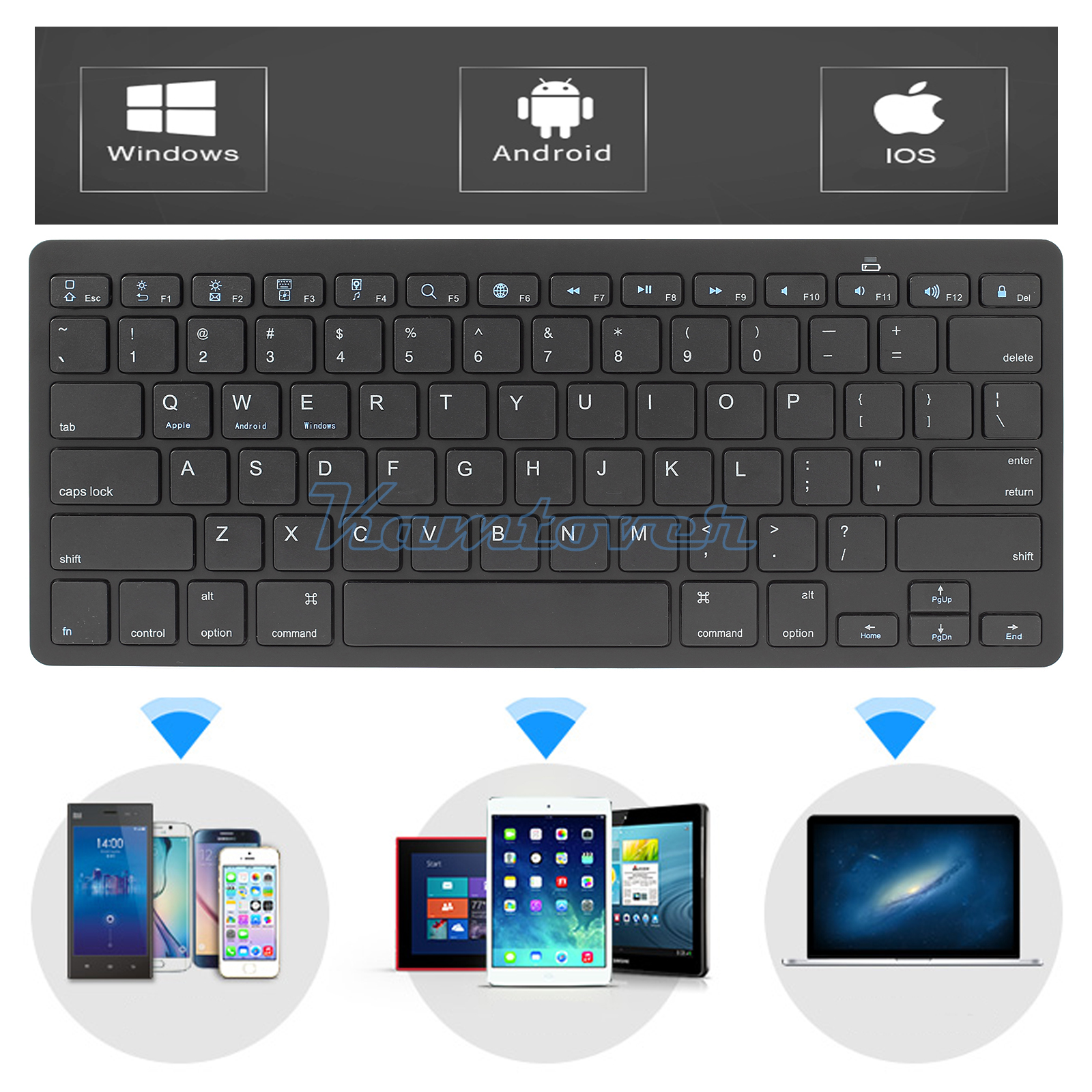 Android Bluetooth Keyboard Example: Ultra-slim Wireless Keyboard Bluetooth Lightweight For IOS Android Mac Windows