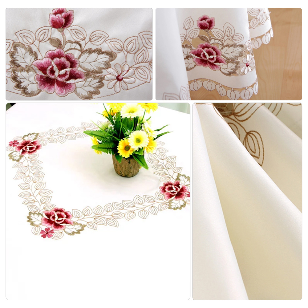 yazi Embroidery Rose Tablecloth Wedding Party Side End Table Cloth