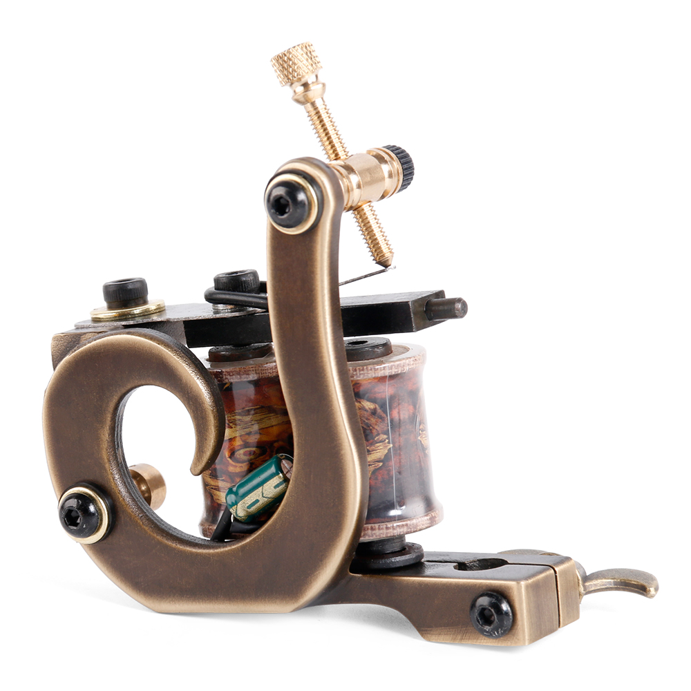New Brass Tattoo Machine Gun Handmade 12 Wraps Pure Copper
