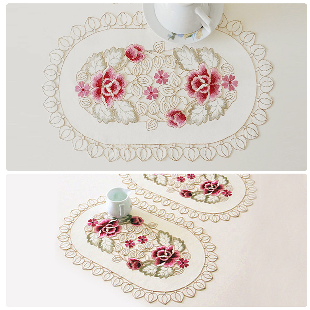Yazi embroidery rose tablecloth wedding party side end