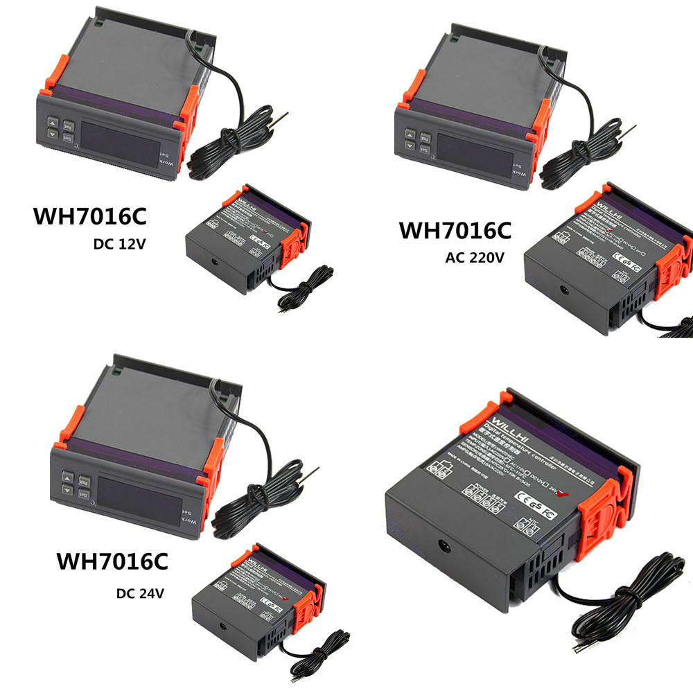 WH7016C DC12V//24V AC220V Digital Temperature Controller Thermostat LCD Display