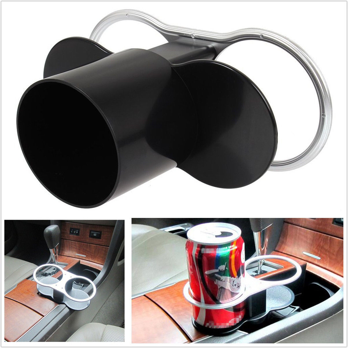 universal car trim interior seat wedge mount drink bottle dual cup holder stand ebay. Black Bedroom Furniture Sets. Home Design Ideas