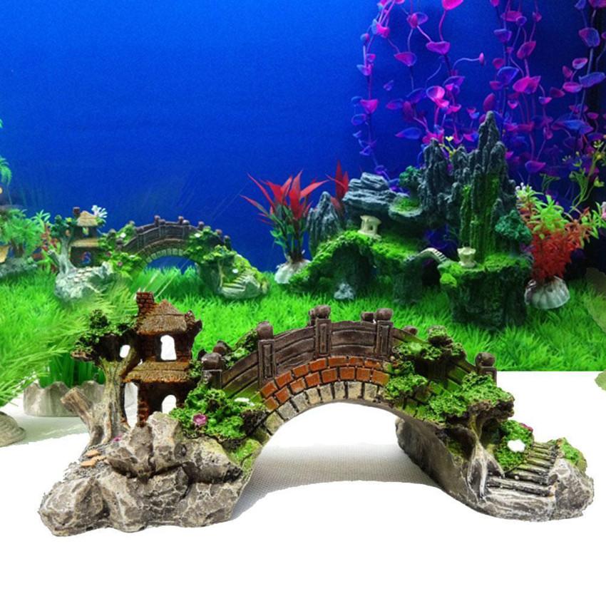 Small aquarium resin bridge landscape fish tank ornament for Aquarium versand