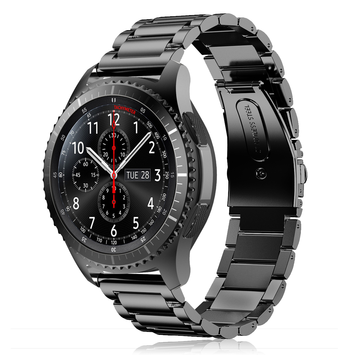 stainless steel replacement band strap for samsung gear s3. Black Bedroom Furniture Sets. Home Design Ideas