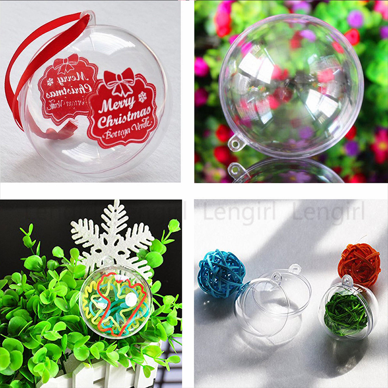 10x Clear Plastic Fillable DIY Craft Ball Ornament Christmas Tree Decoration