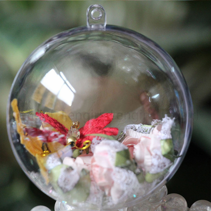 10x clear plastic fillable diy craft ball ornament