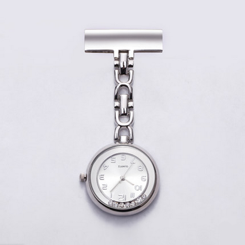 Unisex-Stainless-Steel-Crystal-Chest-Pocket-Clip-Nursing-Nurse-Quartz-Watch-AU