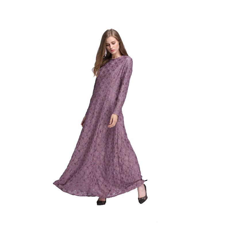Women Lace Longsleeve Maxi Dress Muslim Abaya Kaftan Jilbab Islam ...