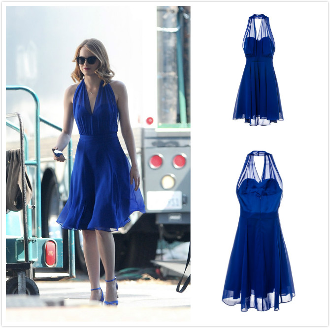 la la land mia blue v neck style dress fancy dress cosplay costume ebay. Black Bedroom Furniture Sets. Home Design Ideas