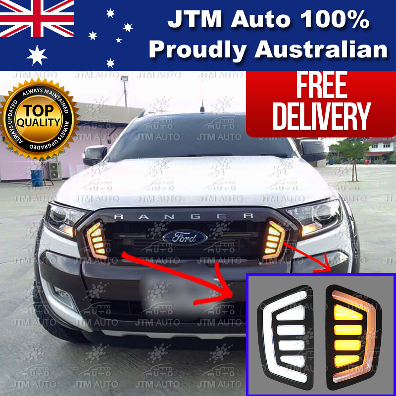 Daytime Running Lights DRL with Indicator to suit Ford Ranger Grille Grill 15-18