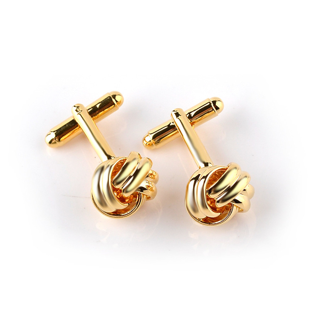 Classical-Silver-Gold-Plated-Cufflinks-Love-Knot-Shape-Cuff-Links-Present-Male thumbnail 15