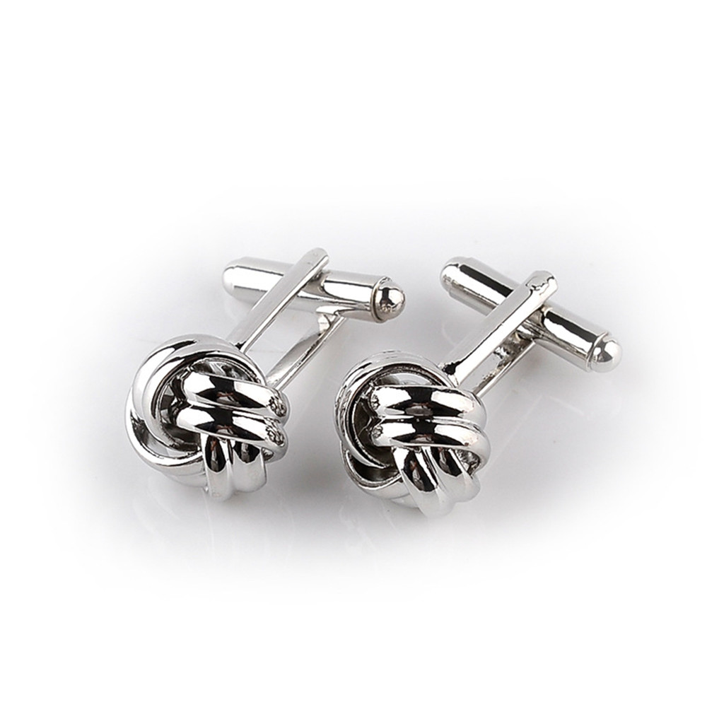 Classical-Silver-Gold-Plated-Cufflinks-Love-Knot-Shape-Cuff-Links-Present-Male thumbnail 12