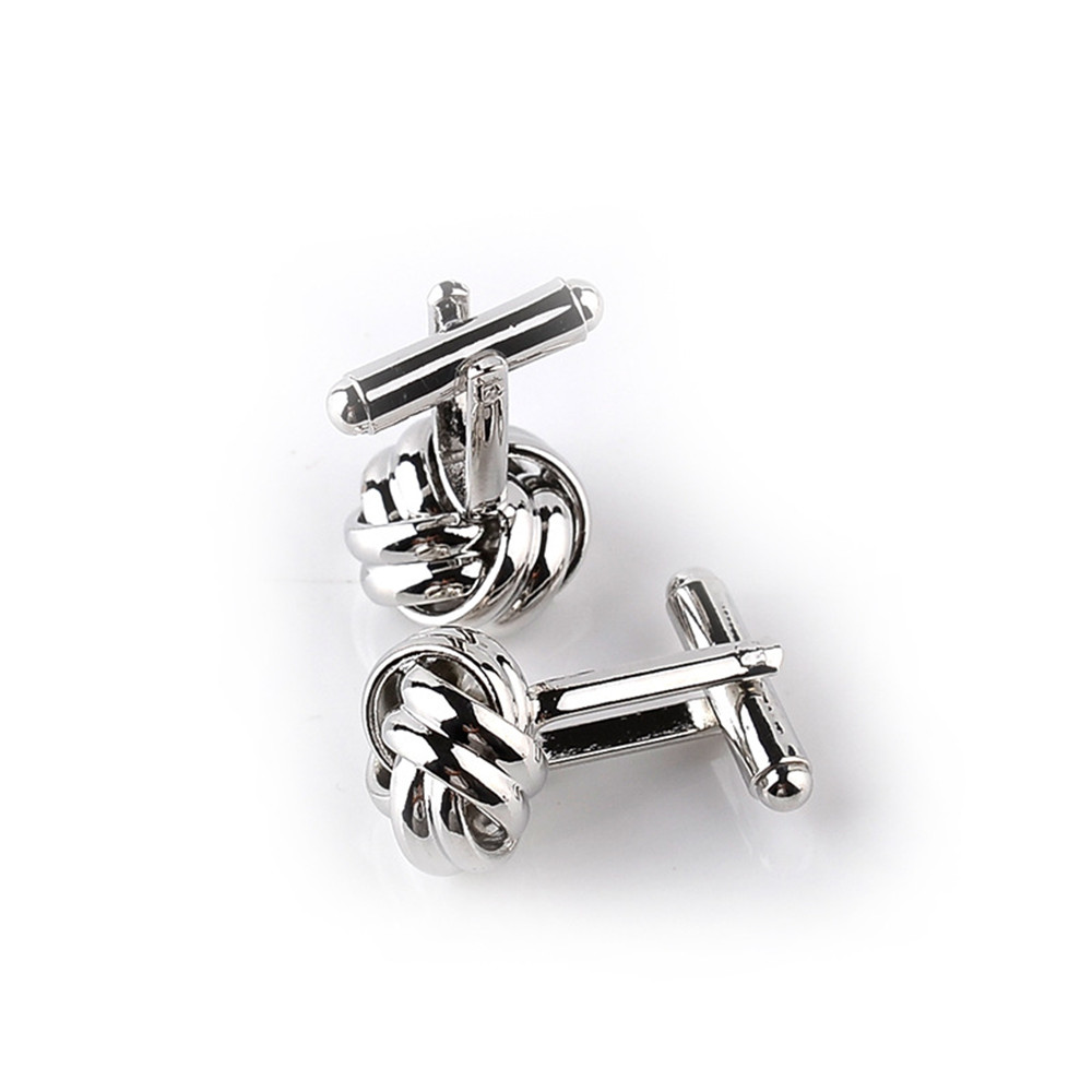 Classical-Silver-Gold-Plated-Cufflinks-Love-Knot-Shape-Cuff-Links-Present-Male thumbnail 11