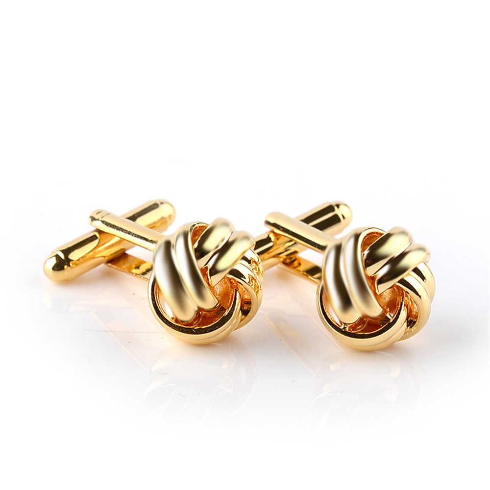 Classical-Silver-Gold-Plated-Cufflinks-Love-Knot-Shape-Cuff-Links-Present-Male thumbnail 14