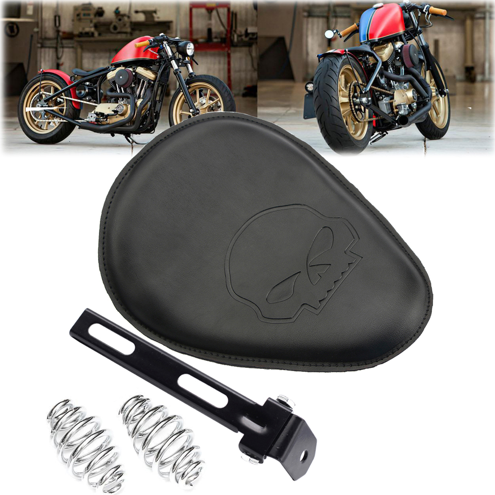 Universal Motorcycle Seats : Universal motorcycle leather quot spring solo bracket seat