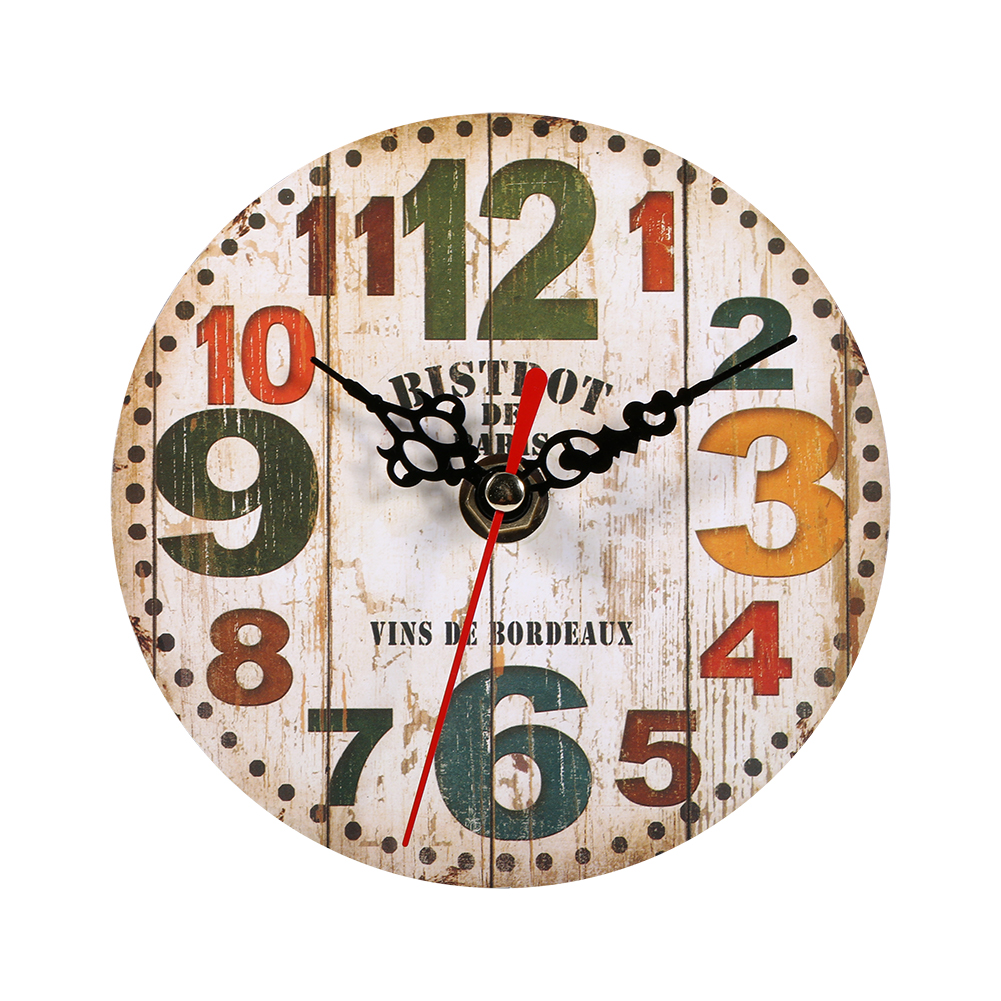 Vintage Retro Rustic Wooden Wall Clock Antique Shabby Chic