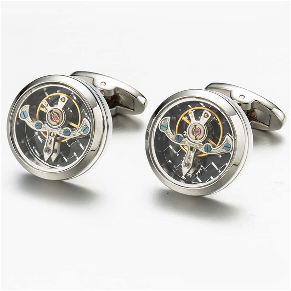 Functional tourbillon mechanical watch cufflinks french for Mens shirts with cufflinks