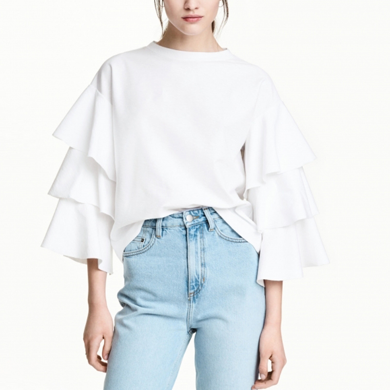 Summer womens fashion white blouses frill ruffle sleeve t for Frill sleeve t shirt