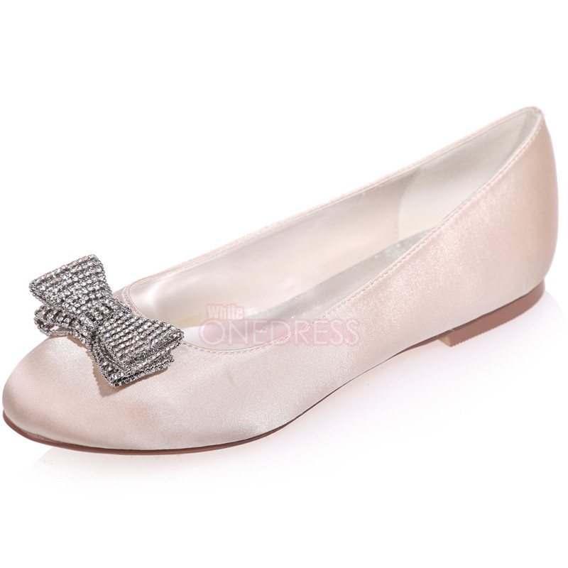Womenu0026#39;s Satin Flat Wedding Bridal Shoes Prom Party Evening Formal Heels Bead Bow