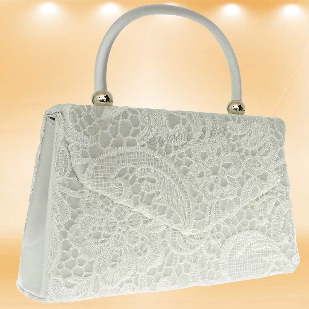 UK Evening Women Top Handle Lace Satin Bridal Party Clutch Shoulder Bag Handbag | EBay