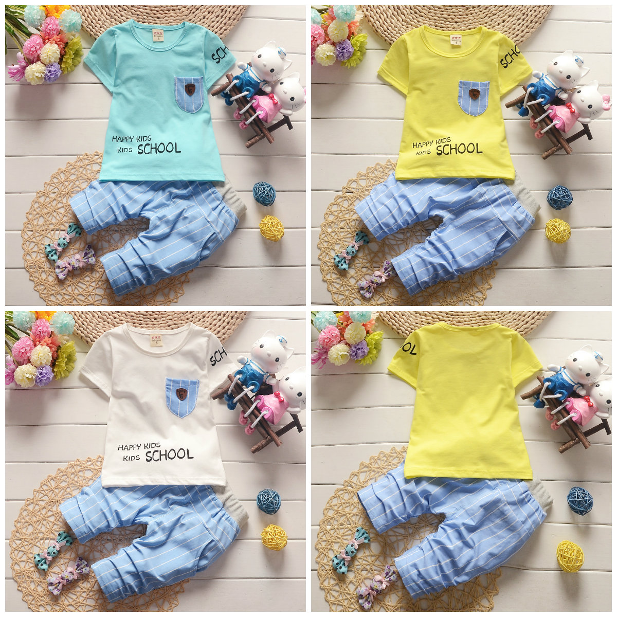 2pcs boys summer outfits set clothes boys soft cotton Tee+short pants cool STAR